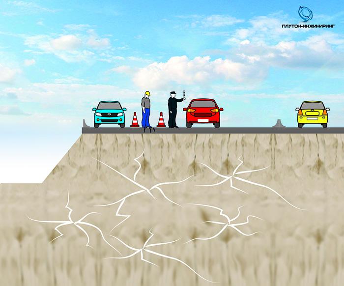 ГЕОТЕХНИЧЕСКАЯ ЗАДАЧА:  Деформирование участка автодороги, проявляющееся в расползании насыпи с просадкой и образовании трещин в полотне.